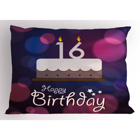 16th Birthday Pillow Sham Cake with Candle Anniversary of Birth Best Wishes Young Image, Decorative Standard Queen Size Printed Pillowcase, 30 X 20 Inches, Fuchsia and Dark Blue, by