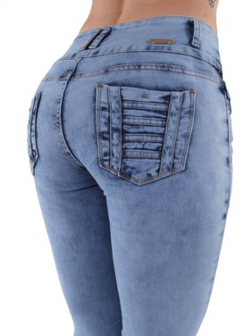 7cc886a55be Product Image Q215 - Plus   Junior Size Colombian Design Butt Lift  unfinished hem Skinny Jeans
