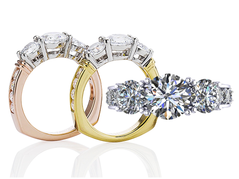 98e746bc6 NANA - 14k CZ 3 Stone Ring (Euro) w/ Side Stones Yellow Gold Size 9 -  Walmart.com