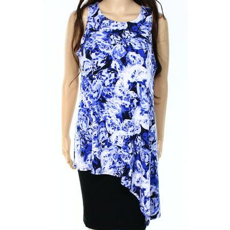 Alfani NEW Blue Womens Size Medium M Drape Asymmetrical Tank Cami (Asymmetrical Draping)