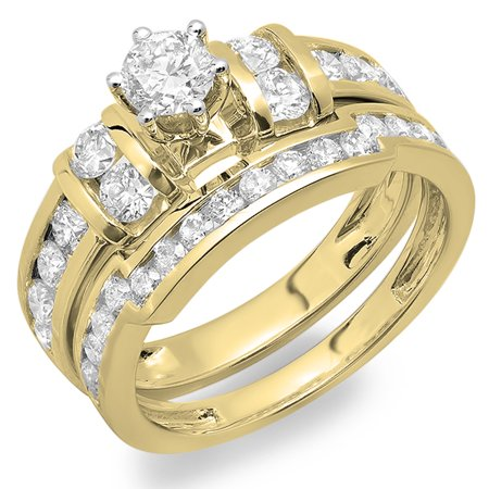 Dazzlingrock Collection 1.80 Carat (ctw) 18K Round Diamond Ladies Bridal Engagement Ring Set, Yellow Gold, Size 7