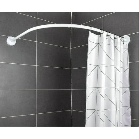 Adjustable L Shape Shower Curtain Rod Stainless Steel Telescopic Pole Curved Shower Curtain Rod Bathroom Rod