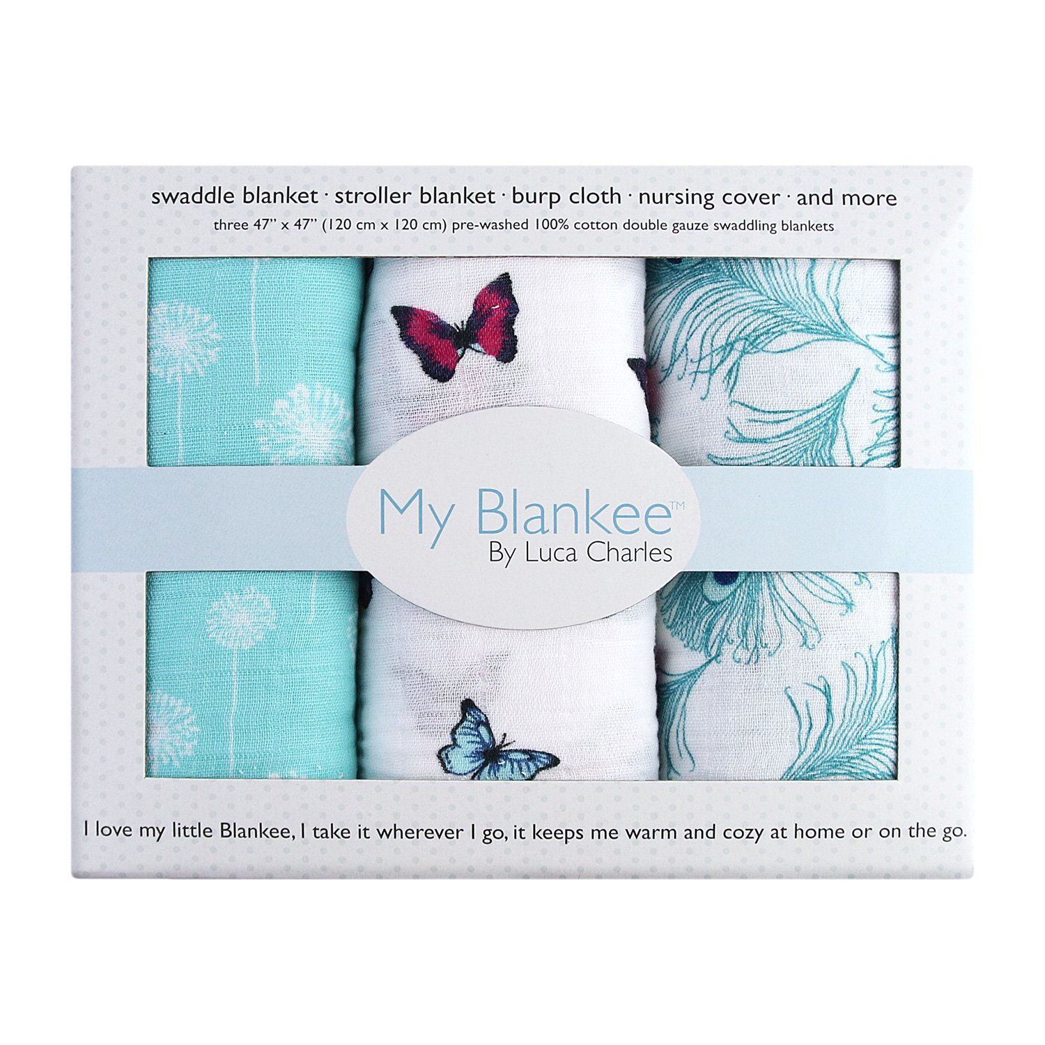 My Blankee Muslin 3 Piece Swaddle Blanket, Feather Girls ...