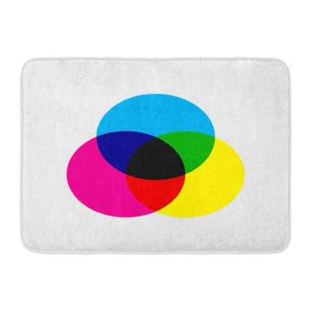 GODPOK Black Graph CMYK Color Model Scheme Three Overlapping Circles in Cyan Magenta Yellow Blue Chart Rug Doormat Bath Mat 23.6x15.7 inch