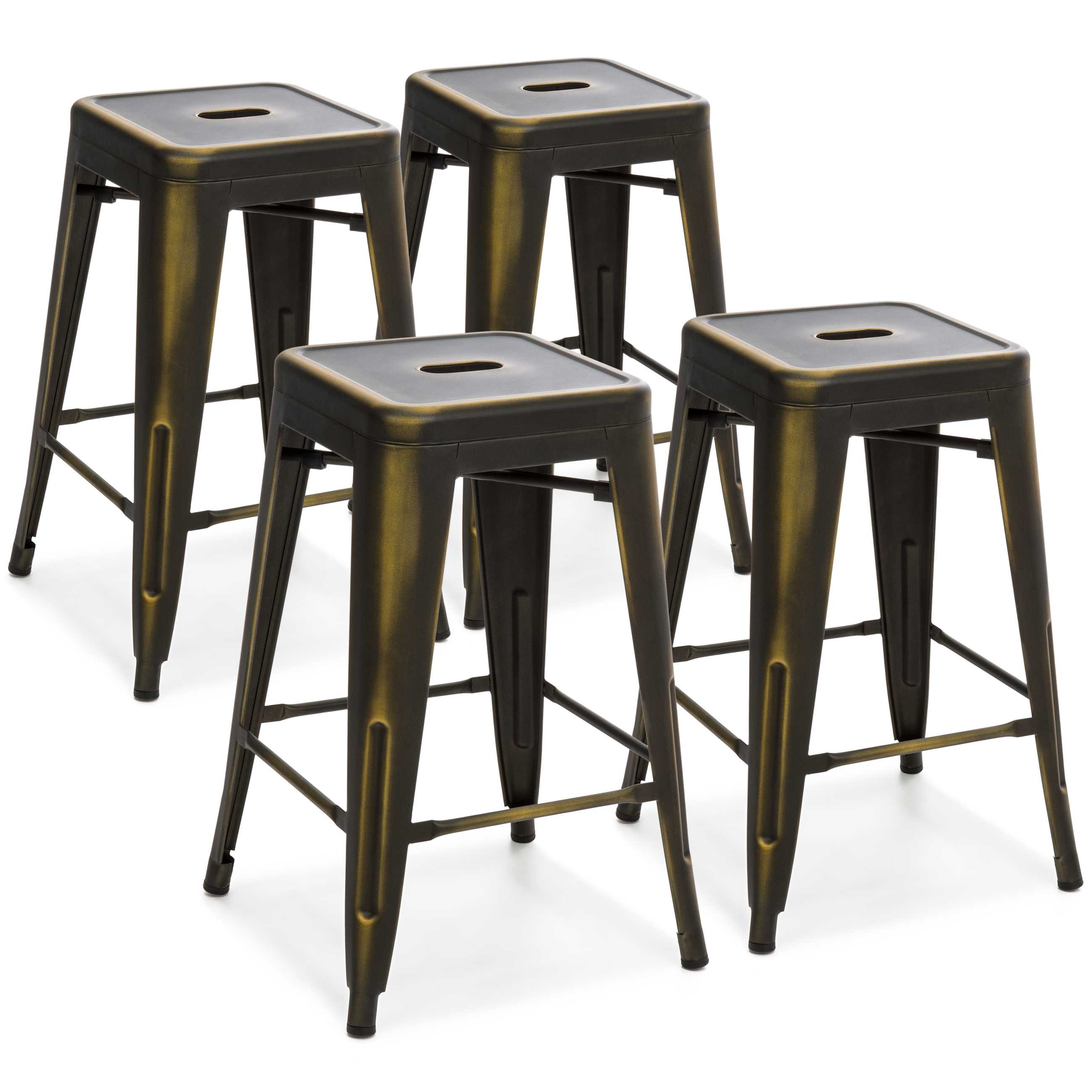 Best Choice Products 24in Set of 4 Stackable Modern Industrial Distressed Metal Counter Height Bar Stools - Copper