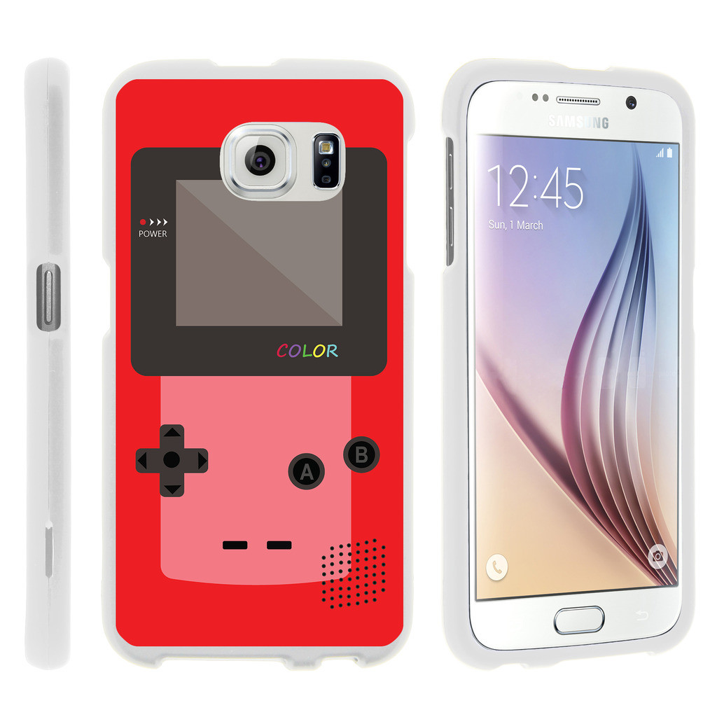 Samsung Galaxy S6 Edge G925, [SNAP SHELL][White] Hard White Plastic Case with Non Slip Matte Coating with Custom Designs - Red Gameboy Color