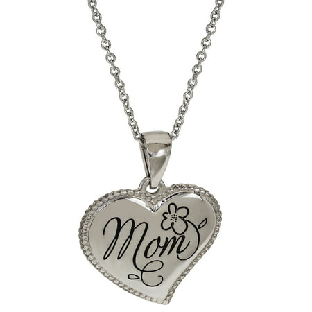 Stainless Steel Mom Heart Pendant, 18