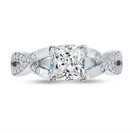 - 925 Sterling Silver Princess Cut Infinity Twist Solitaire Engagement Ring CZ Cubic Zirconia (1.50cttw., 1.0ct. Center) , Size 7