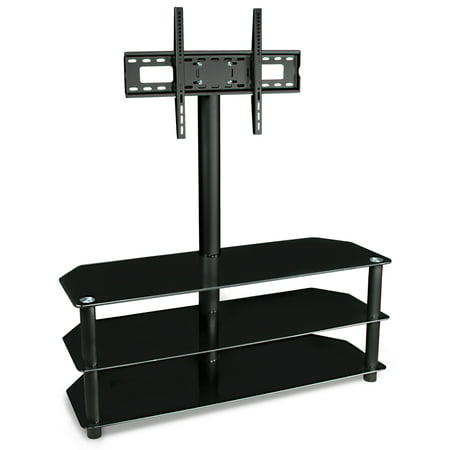 "Mount-It! TV Stand with Mount and Glass Shelves for Components, 37""-70"" Inch Flat Screen"