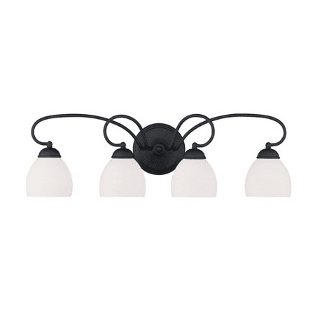 Bathroom Vanity 4 Light With Hand Blown Satin Opal White Glass Black size 31 in 400 Watts - World of Crystal