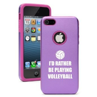 Apple iPhone 6 6s Shockproof AS Aluminum & Silicone Hard Soft Case Cover I'd Rather Be Playing Volleyball (Purple),Daylor