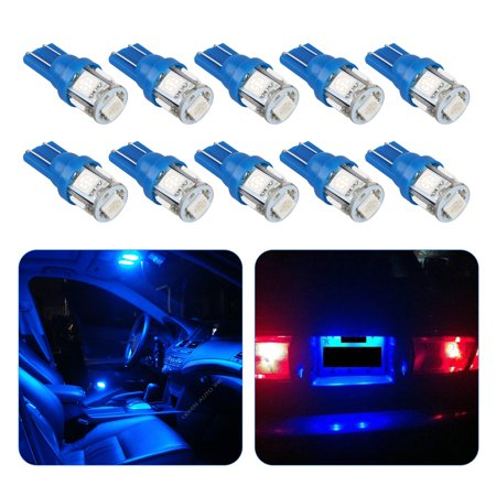 10-pack T10 LED Car Light Bulb, 5050 5-SMD, Super Bright Instrument Panel Gauge Cluster Dashboard Lights Kit W5W 194 168 2825, 5050 5-SMD