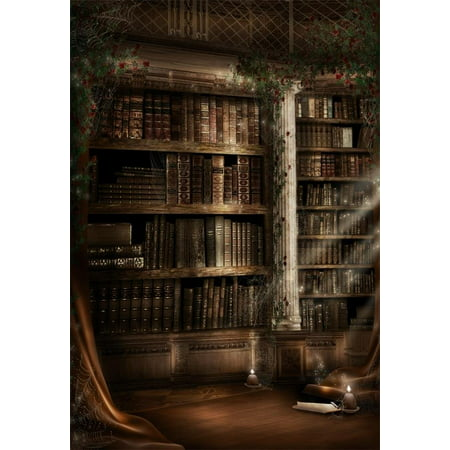 HelloDecor Polyster 5x7ft Photography Background Spooky Ancient Room Gothic Architecture Candle Bookshelf Bookcase Scary Halloween All Saints' Day theme Children Photo Backdrops Video Studio Props - All Halloween Themes