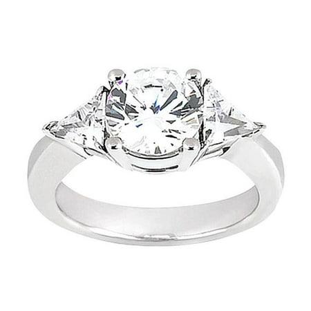 Harry Chad Enterprises 2413 2.75 CT Round Cut Trilliant Three Stone Diamond Ring - White Gold