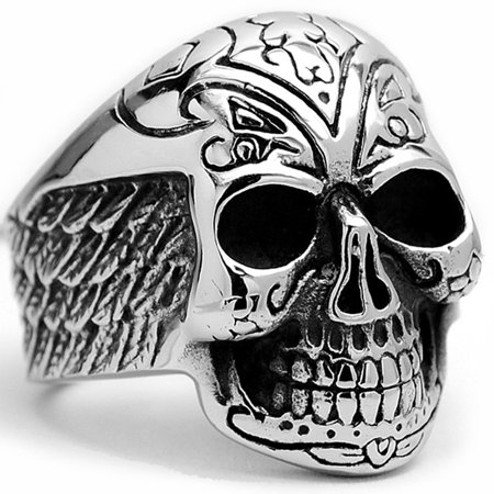 Men's Stainless Steel Casted Tribal Skull Biker Ring with Wings Sizes 9 to