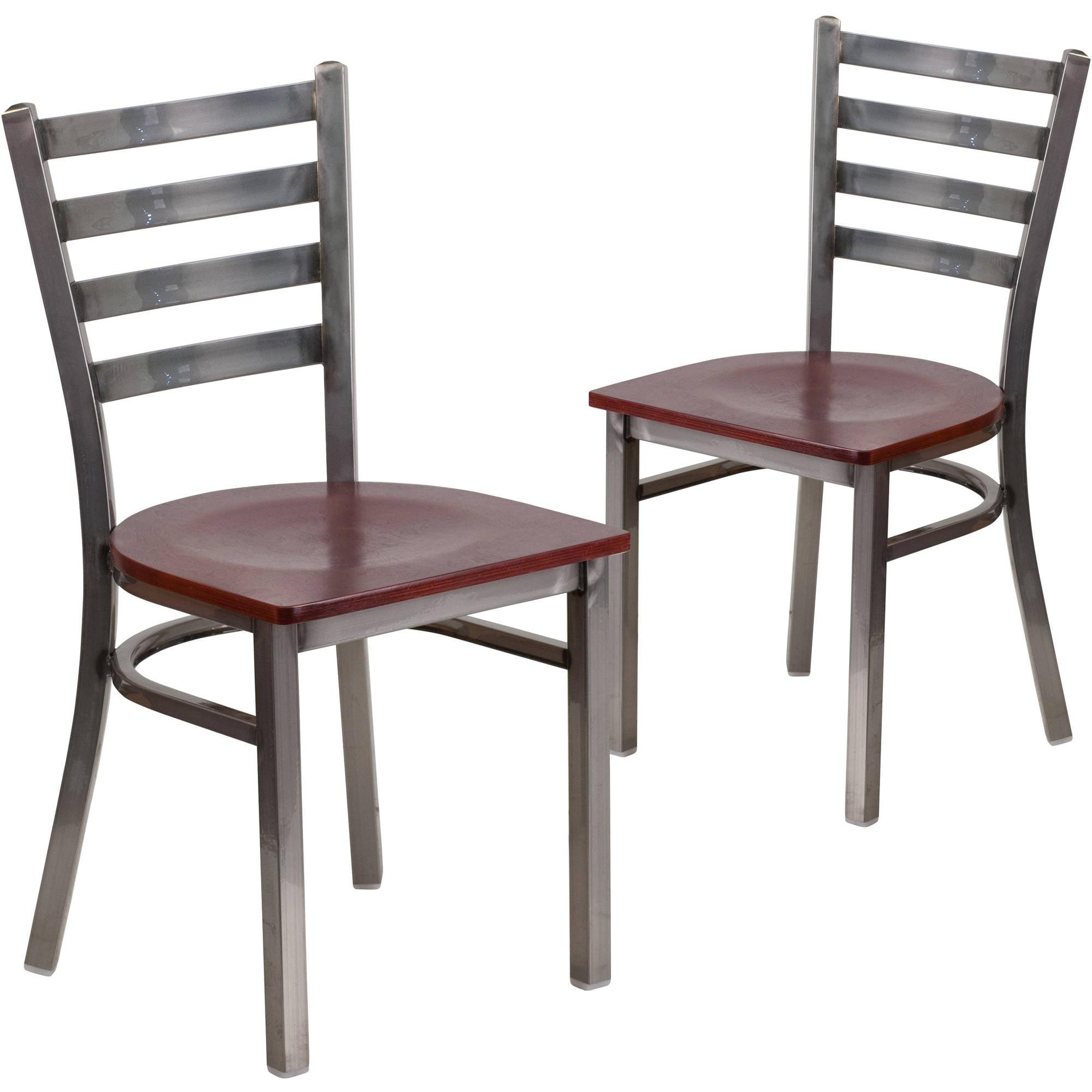 Flash Furniture 2pk HERCULES Series Clear Coated Ladder Back Metal Restaurant Chair, Wood Seat, Multiple Colors
