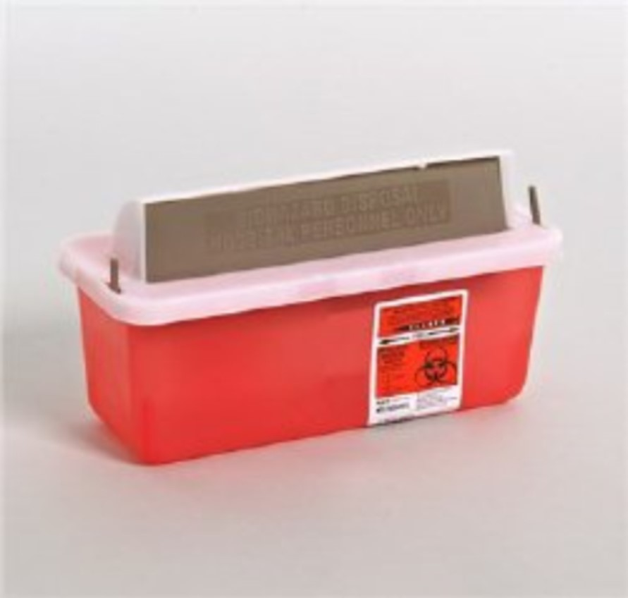 Multi-purpose Sharps Container, 2 qt, Translucent Red Base, Horizontal Entry Lid