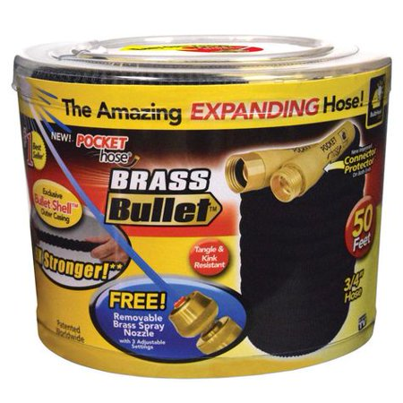 As Seen On TV Brass Bullet Pocket Hose Retractable Kink Resistance Garden Hose, 75