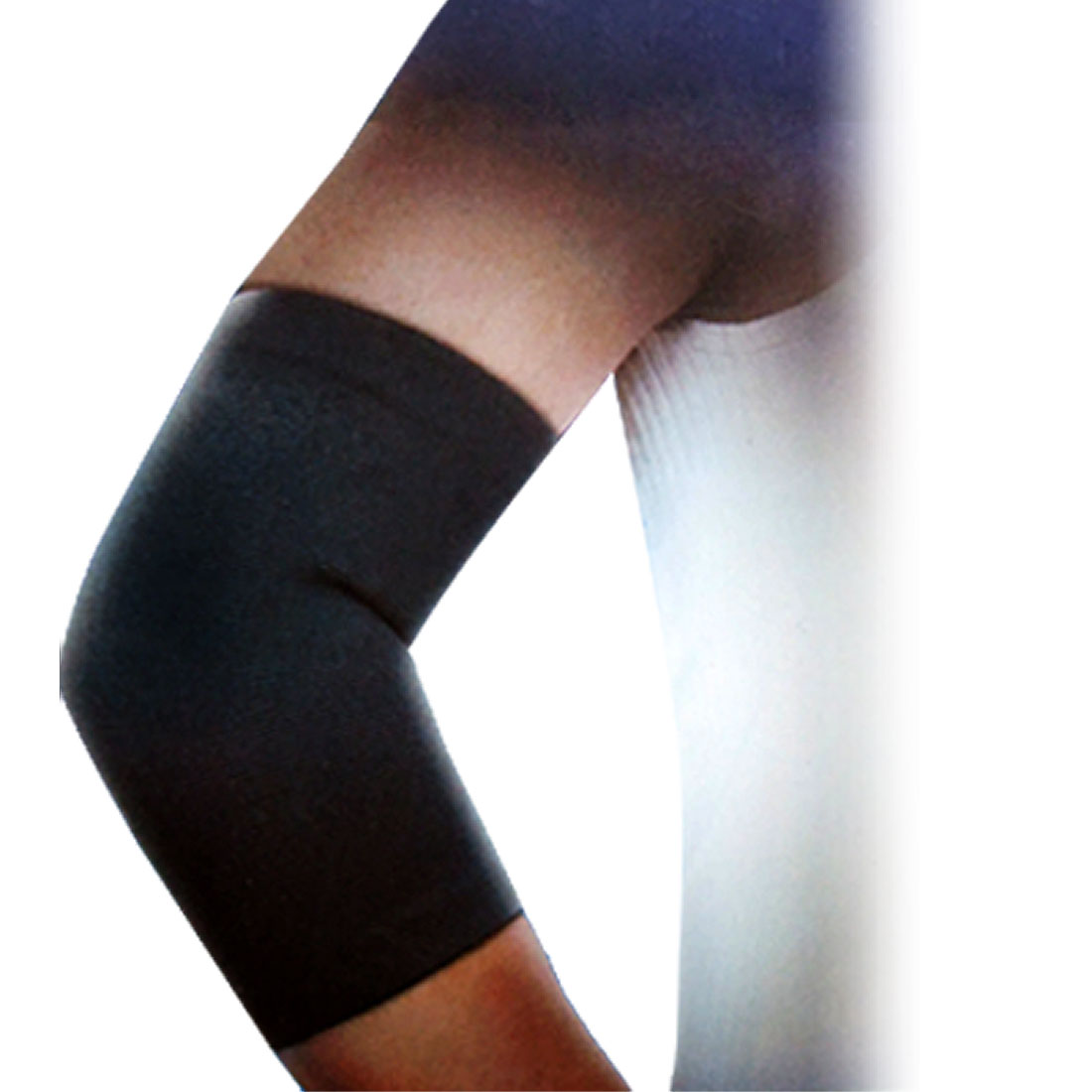 Unique Bargains Breathable Fitting Athletic Elbow Support Sleeve Band Brace Wrap Black