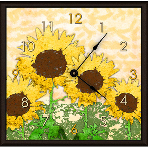 Green Leaf Art Sunflowers 11'' Art Wall Clock