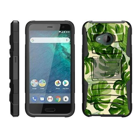 Htc G1 Phone - TurtleArmor ® | For HTC U11 Life [Hyper Shock] Hybrid Dual Layer Armor Holster Belt Clip Case Kickstand - Green Leaves