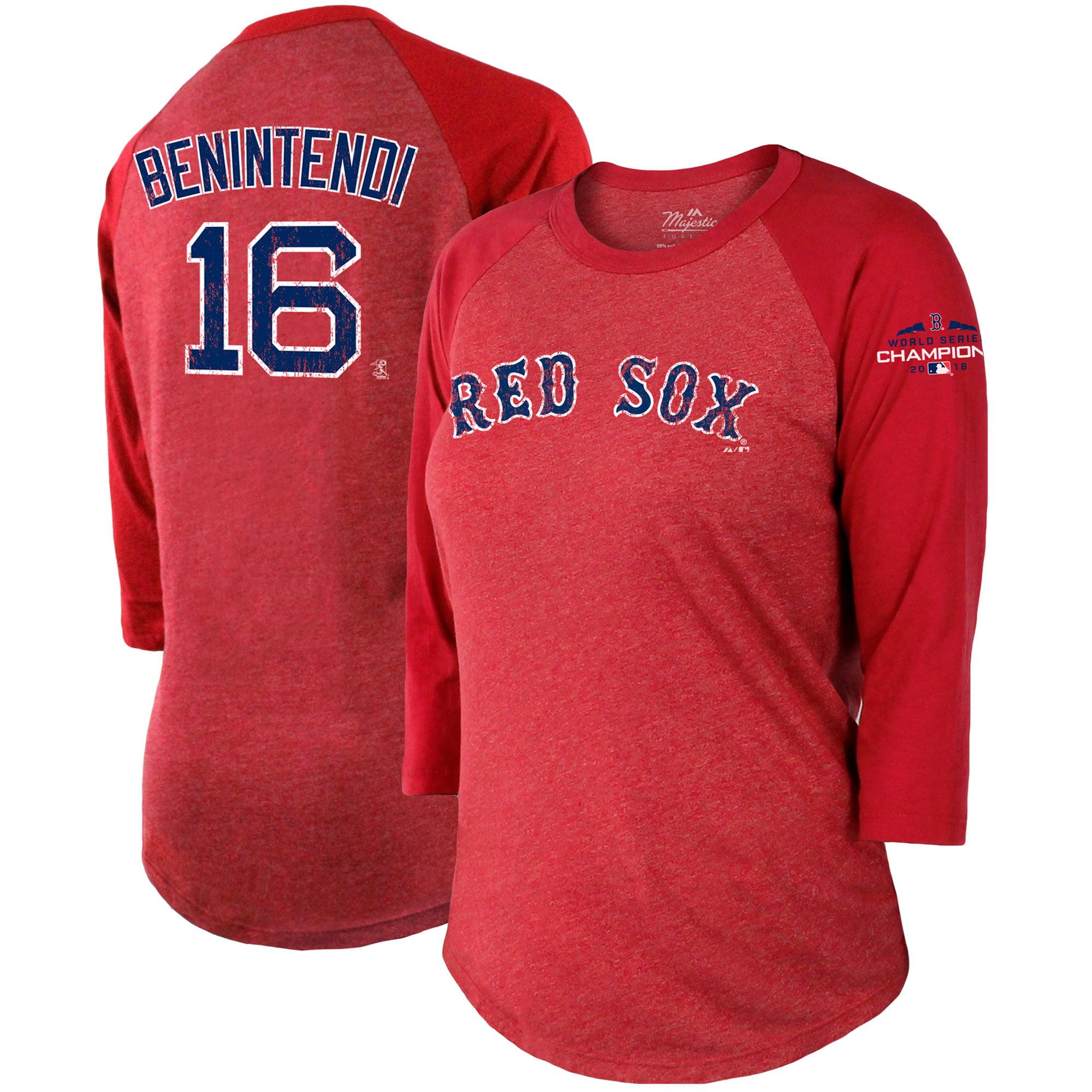 Andrew Benintendi Boston Red Sox Majestic Threads Women's 2018 World Series Champions Name & Number 3/4-Sleeve Raglan T-Shirt - Red