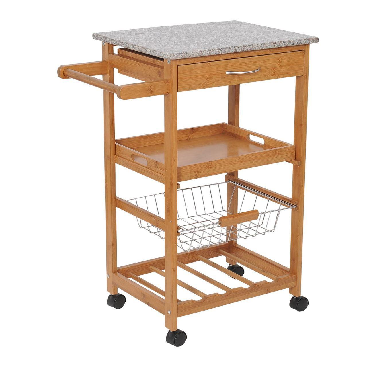 Wooden Kitchen Trolley Cart with Wine Rack – Granite Top