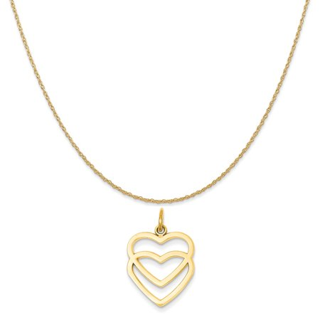 14k Yellow Gold Ceramic (14k Yellow Gold Double Heart Charm on a 14K Yellow Gold Rope Chain Necklace, 16