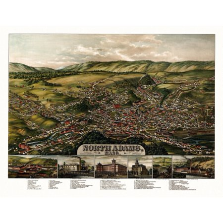 Vintage Map of North Adams Massachusetts 1881 Berkshire County Stretched Canvas -  (18 x 24)