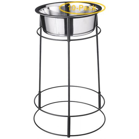 Spot Hi-Rise Single Stainless Steel Diner 2 Quart (14.25 Tall x 6.5 Diameter Bowl) - Pack of 10