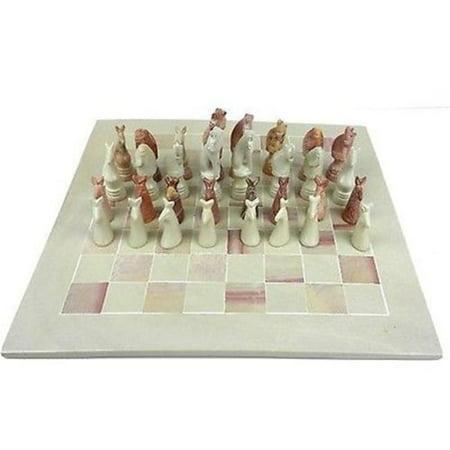 Smolart Hand Carved Soapstone Animal Chess Set Board, 15