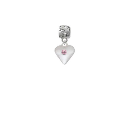 Silvertone Large Light Pink Crystal Heart - Paw Print Charm Bead