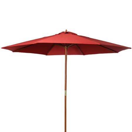 9 Ft Bright Red Patio Umbrella Outdoor Wooden Market