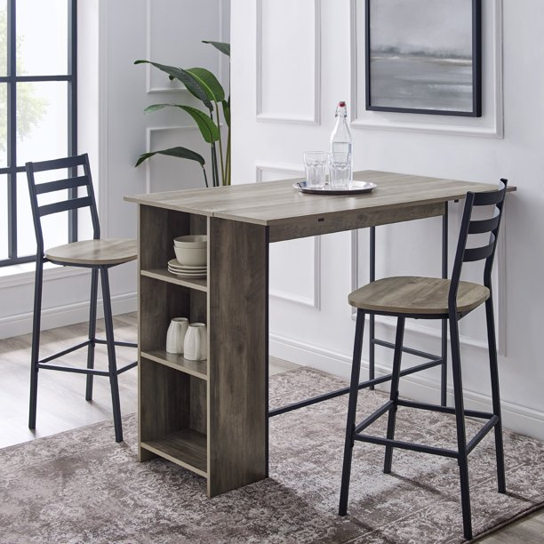 3-Piece Drop Leaf Grey Wash Counter Height Dining Set by River Street Designs