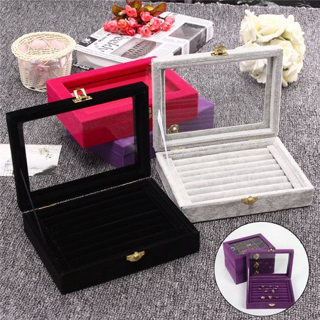 PU/Velvet Jewelry Box Show Case Rings Earings Bracelet Portable Necklace Glass Display Storage Gift  Holder Tray Wood Organizer Travel Ornaments Cosmetic Women Girls Glass Jewelry Display Cases