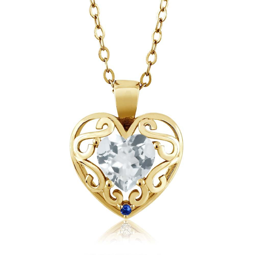 1.01 Ct Heart Shape Sky Blue Topaz Blue Sapphire Gold Plated Silver Pendant