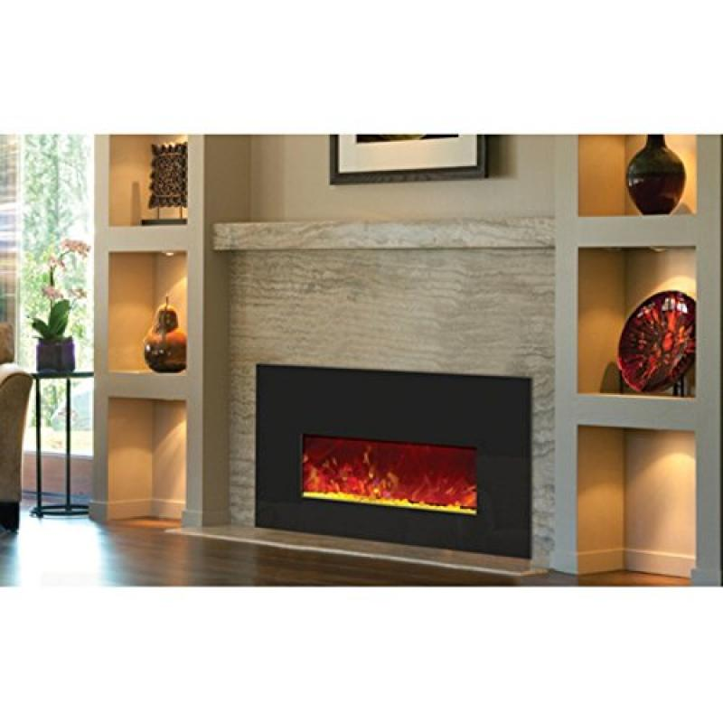 Small Insert Electric Fireplace with Black Glass Surround