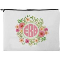 Floral Monogram Personalized Makeup Bag
