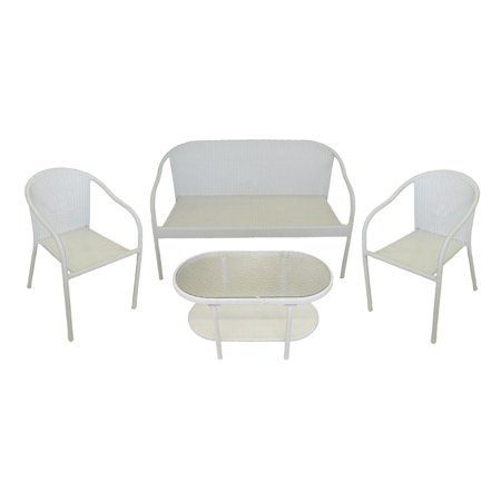 4 Piece White Resin Wicker Patio Furniture Set Loveseat 2 Chairs Glass Top Table
