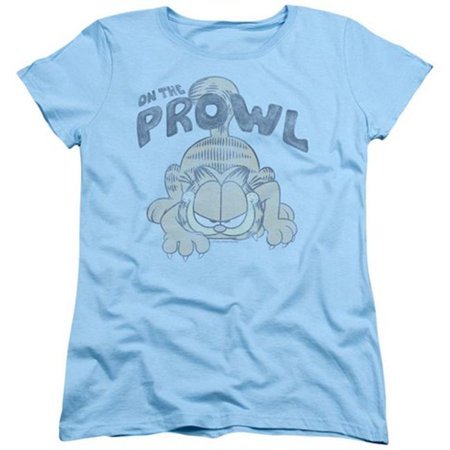Trevco Garfield-Prowl Short Sleeve Womens Tee, Light Blue - - Women On The Prowl