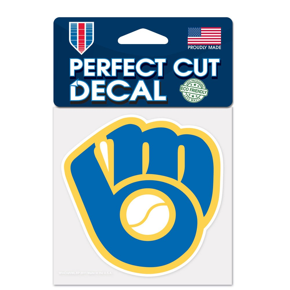Milwaukee Brewers Official MLB 4 inch x 4 inch  Die Cut Car Decal by Wincraft