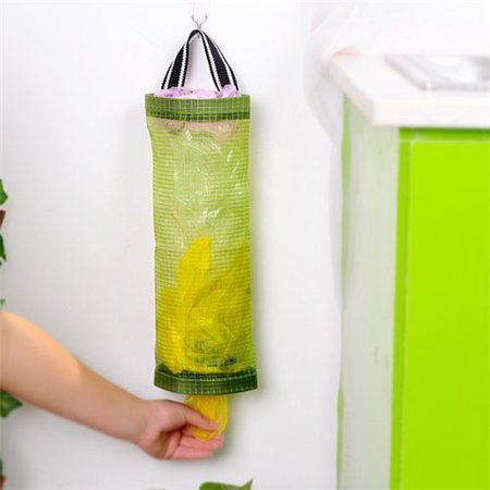 AUCH 1Pcs Hanging Folding Mesh Garbage Bag Organizer Trash Bags Holder Recycling Containers Plastic Waste Bag Storage for Kitchen, (Trash Bag Storage)