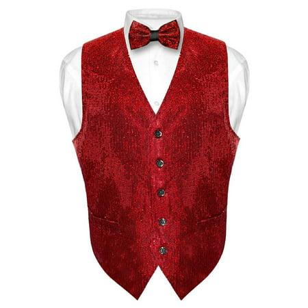 Men's SEQUIN Design Dress Vest & Bow Tie RED Color BOWTie Set for Suit Tux