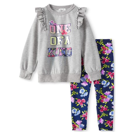Ruffled Shoulder Fleece Graphic Sweatshirt & Legging, 2-Piece Outfit Set (Little Girls)