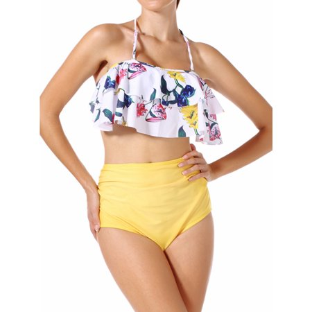00e374e143d SAYFUT - SAYFUT Women Two Piece Swimsuit Set Off Shoulder Ruffled Flounce  Crop Bikini Top with Floral Print Cut Out Bottoms - Walmart.com