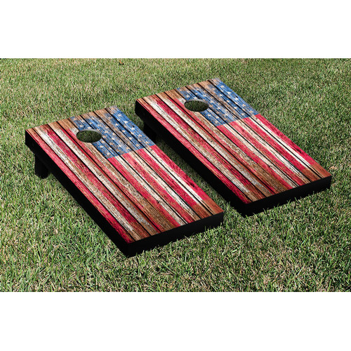 Victory Tailgate NCAA United States US Flag Distressed Wood Cornhole Game Set by Victory Tailgate