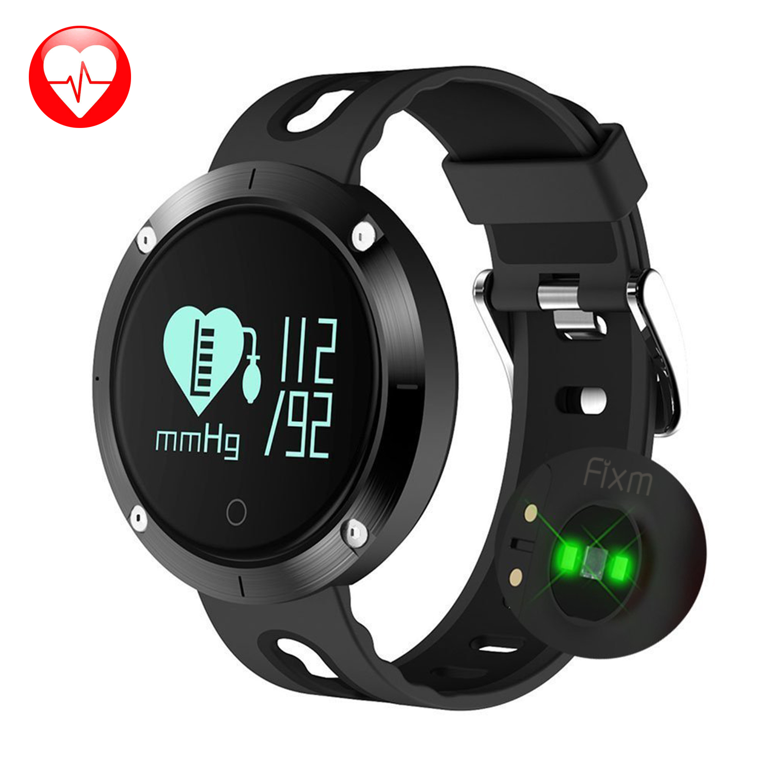 Fitness Tracker Bluetooth Smart Wrist Watch with Blood Pressure/Heart Rate Monitor for IOS Android Black