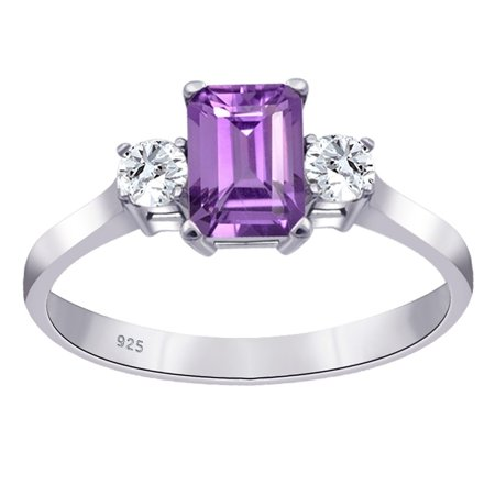 Sterling Silver Ring For Women | February Birthstone Ring | 1.3 Carat Purple Amethyst & White Topaz Engagement Ring by Orchid Jewelry | Simple. Beautiful. (Best Affordable Engagement Rings)