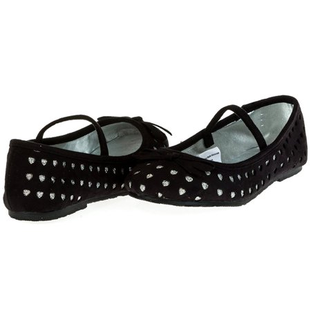 Chatties Toddler Girls Microsuede Ballet Flats Size 9/10 - - Toddler Black Ballet Flats