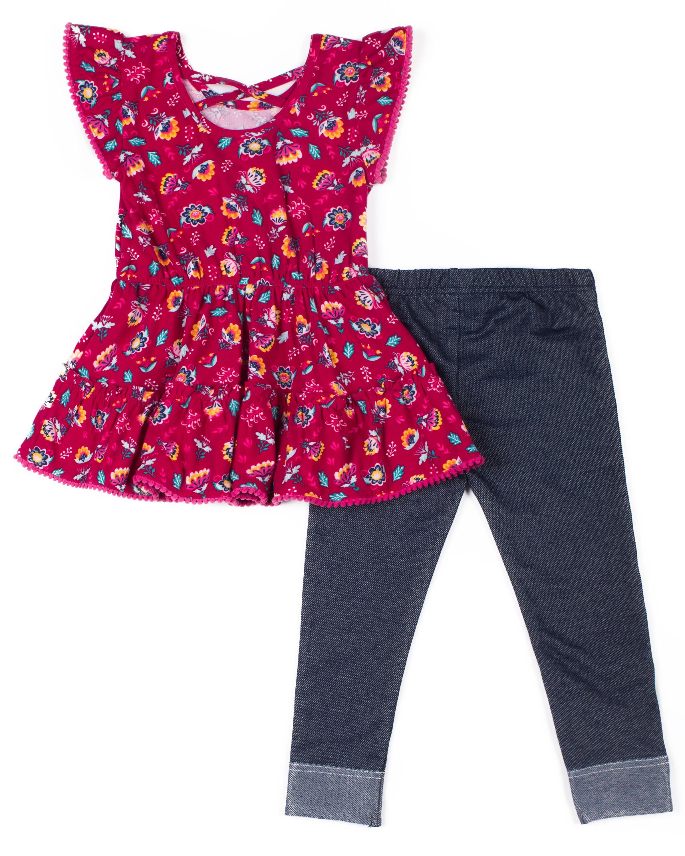 Little Lass Girls 2 Pc Floral Trim Legging Set
